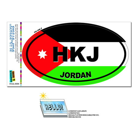 Image of Jordan Country Flag - HKJ Euro Oval SLAP-STICKZ(TM) Premium Sticker