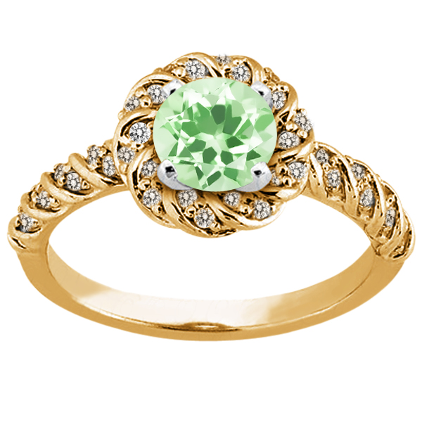 1.68 Ct Round Green Amethyst 925 Yellow Gold Plated Silver Ring