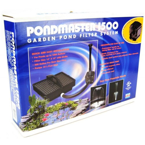 Pondmaster Garden Pond Filter System Kit 1500 - Ponds up to 1,000 Gallons - (500 GPH Max Flow)
