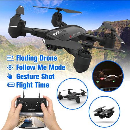 Grtxinshu 1080P Wifi FPV Optical Flow Gesture Shot Follow Me Fly 15 mins Altitude Hold RC Selfie Drone