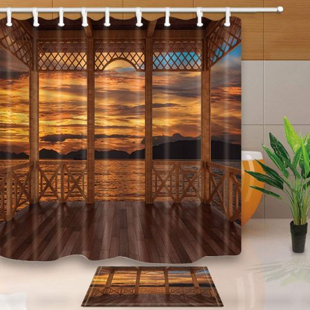 ARTJIA Tropical Seaside Decor 3D Visualization of Wooden Terrace View Sunset Shower Curtain 66x72 inches with Floor Doormat Bath Rugs 15.7x23.6 inches (Seaside Terrace)