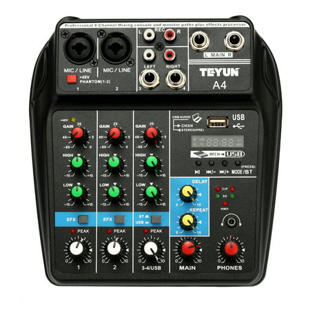 TU04 BT Sound Mixing Console Record 48V Phantom Power Monitor AUX Paths Plus Effects 4 Channels Audio Mixer with