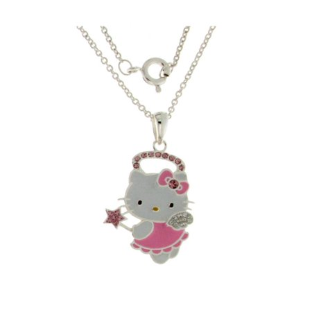 Hello Kitty Silver Tone Angel Pink Crystal Pendant- Limited Qty