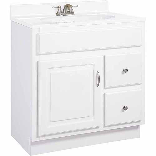 Design House 531269 Concord White Gloss Vanity Cabinet with 1 Door and 2 Drawers