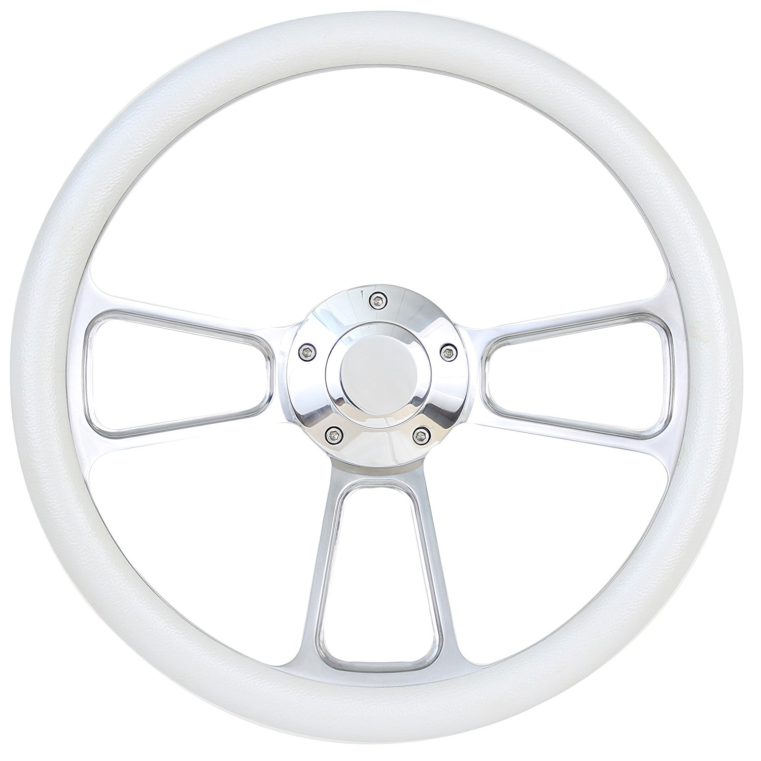 Boat Steering Wheel 14 Inch Aluminum With Tan Vinyl Half Wrap, Horn Button, and Installation Adapter