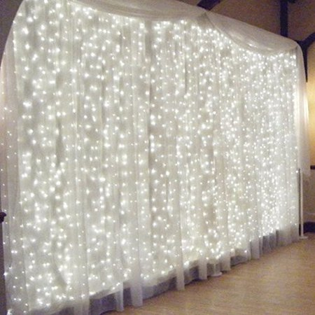 String Decoration (SOLMORE 3Mx3M Fairy Curtain String Light 300 LED Outdooor/Indoor Decoration for Christmas Festival Wedding Party Living Room Bedroom,)