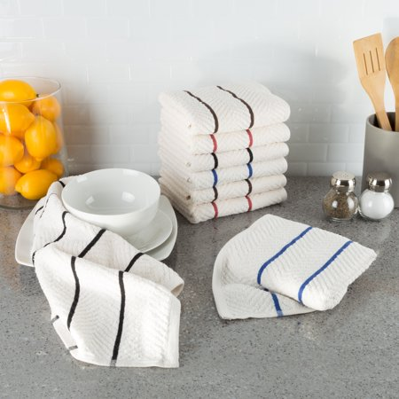 8-Piece 100% Cotton Chevron Terry Absorbent Kitchen Towel Set, Dish Towels, by Somerset