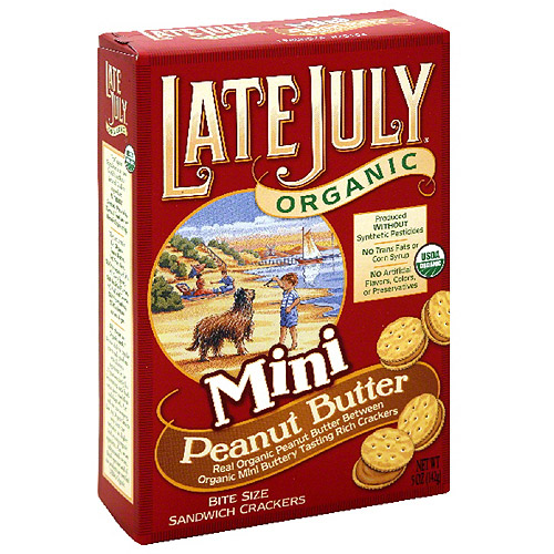 Late July Organic Bite Size Mini Peanut Butter Sandwich Crackers, 5 oz (Pack of 12)
