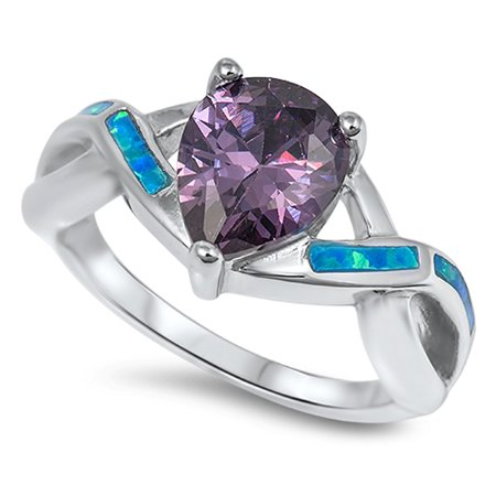 Teardrop Knot (Sterling Silver Women's Flawless Simulated Amethyst Cubic Zirconia Blue Simulated Opal Celtic Knot Teardrop Solitaire Ring (Sizes 5-10) (Ring Size 7) )