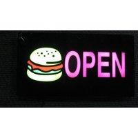 "Lighted LED Window Sign Hamburger Restaurant Open Non Neon Display 17""x 9"" Food Restaurant"