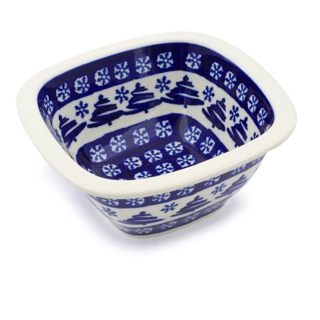Hand Painted Snowflake (Polish Pottery 5¼-inch Square Bowl (Winter Snowflake And Pine Tree Theme) Hand Painted in Boleslawiec, Poland + Certificate of Authenticity)