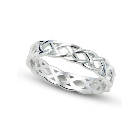 Pearl Celtic Knot Ring (Sz 7 Sterling Silver 925 Celtic Knot Eternity Band Ring)