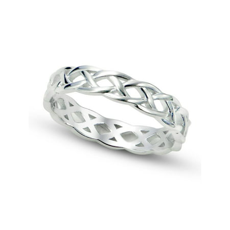 Sz 7 Sterling Silver 925 Celtic Knot Eternity Band Ring