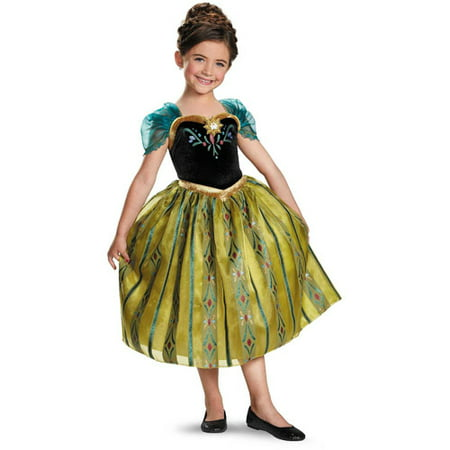 Costume For Anna From Frozen (Girl's Anna Coronation Gown Deluxe Halloween Costume -)