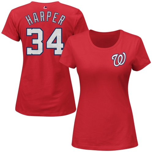 Bryce Harper Washington Nationals Majestic Women's Name and Number T-Shirt - Red