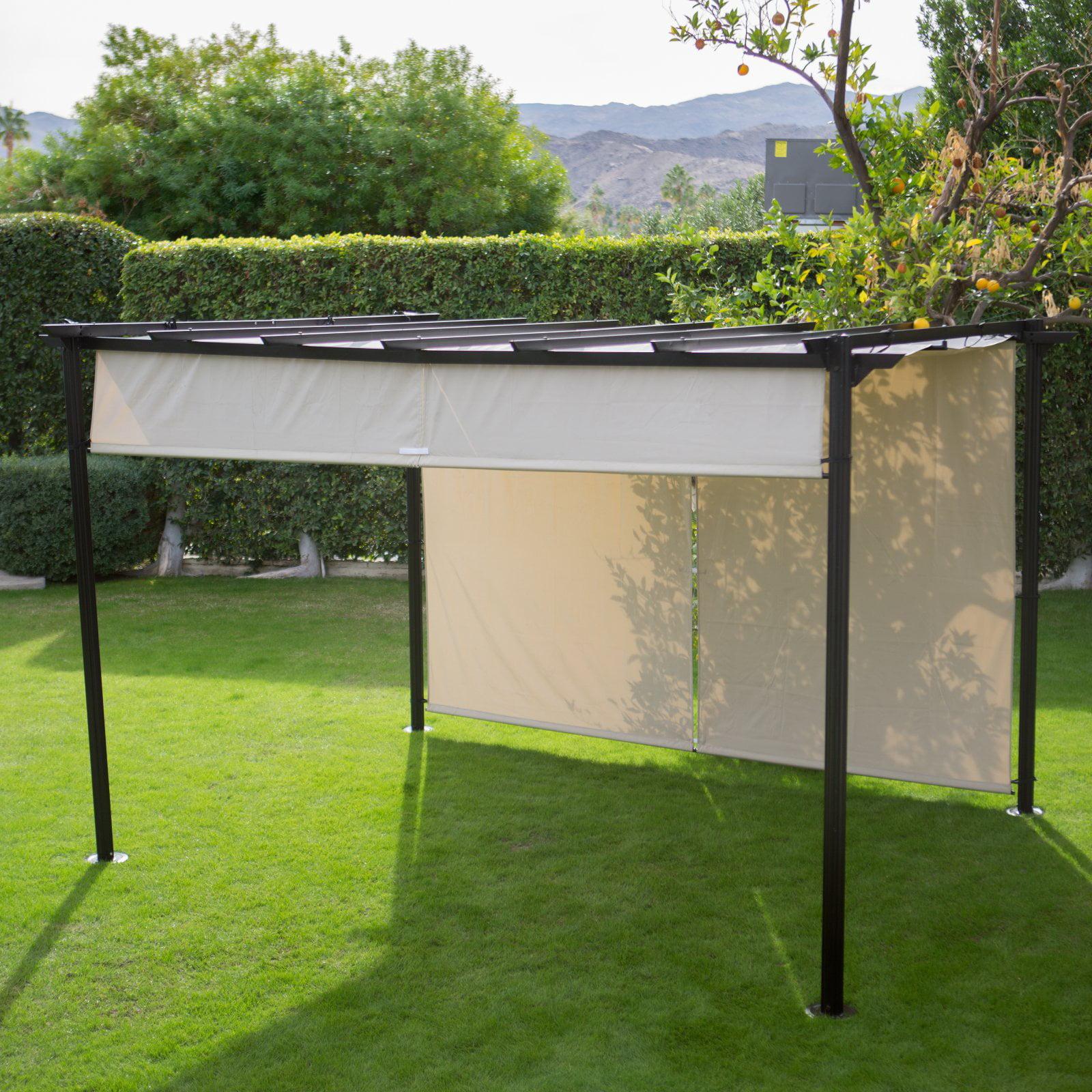 Belham Living Steel Outdoor Pergola Gazebo With Retractable Canopy