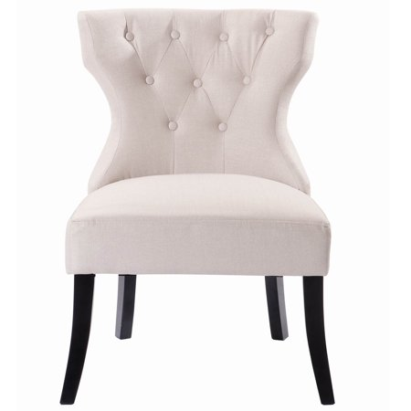 gymax armless upholstered linen fabric tufted dining chair. Black Bedroom Furniture Sets. Home Design Ideas