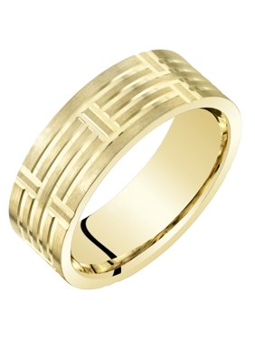 Men's 7mm Geometric Comfort Fit Wedding Band Ring in 14K Yellow Gold