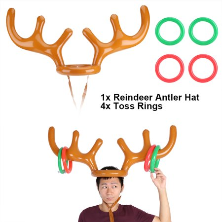 Zerone Inflatable Reindeer Hat Toss Game Xmas Holiday Party Toys Gift, Reindeer Toss Hat,Reindeer Antler - Bulk Christmas Hats