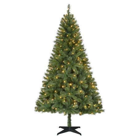 Triple Tree Accent (Home Accents Holiday 6.5 Foot Christmas Tree Greenville Spruce with White Lights )