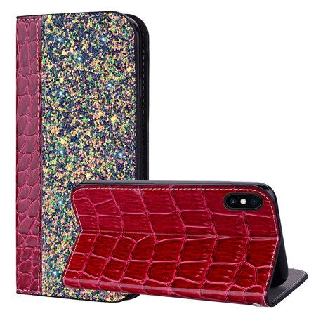 iPhone Xs Max Wallet Case, iPhone Xs Max Cover, Allytech Unique Bling Design PU Leather Wallet case with Wrist Strap Flip Folio Kickstand Cover for iPhone Xs Max 6.5 Inch Phone, Winered