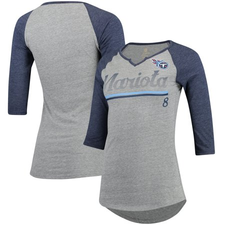 finest selection c4993 33f36 Marcus Mariota Tennessee Titans Women's Juniors Over the Line Player Name &  Number Tri-Blend 3/4-Sleeve V-Notch T-Shirt - Heathered Gray/Navy - ...