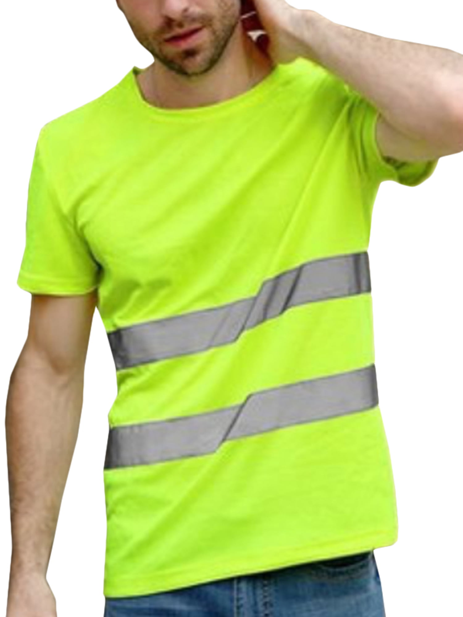 Lightweight Moisture Wicking Construction Shirts for Men /& Women 2XL, Hi Vis Yellow Non-ANSI Brite Safety Style 213 Hi Vis Long-Sleeve Safety Shirt with Pocket