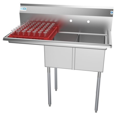 "2 Compartment 43"" Stainless Steel Commercial Kitchen Prep & Utility Sink with Drainboard - Bowl Size 12"" x 16"" x 10"""