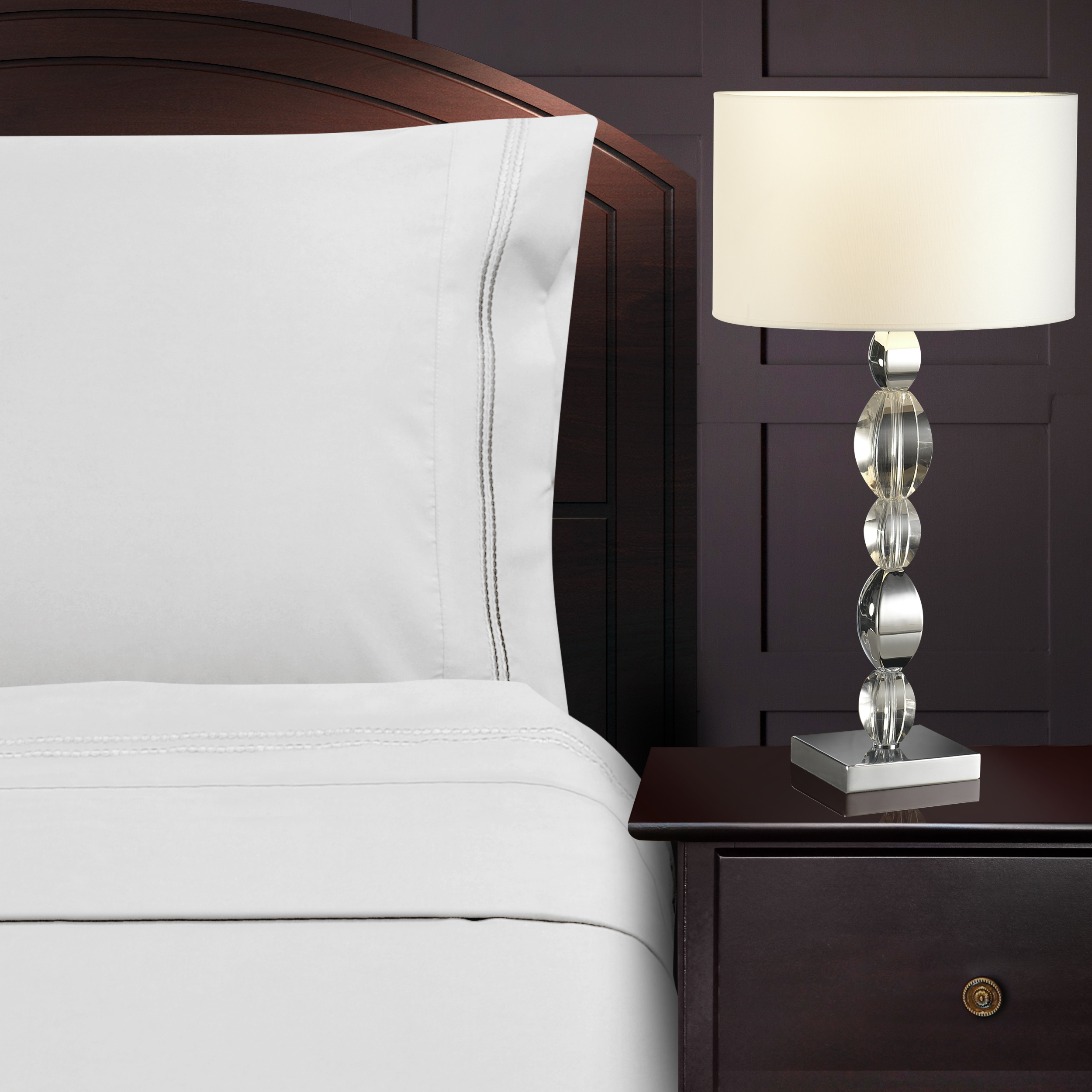 Superior Microfiber,Wrinkle Resistant Sheet Set with 2-Line Embroidery