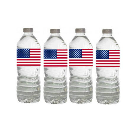 US Flag Patriotic Party Decorations-  15ct Water Bottle Labels - Custom Label Bottled Water