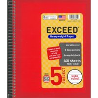 "Exceed 5 Subject 160 Sheets Notebook, Wide Ruled, 10.5"" x 8.5"""