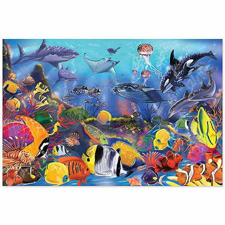 - Melissa & Doug Underwater Floor Puzzle (Extra-Thick Cardboard Construction, Beautiful Original Artwork, 48 Pieces, 2′ × 3′)