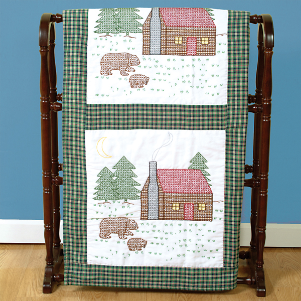 "Jack Dempsey Cabin And Bears Stamped White Quilt Blocks, 18"" x 18"""