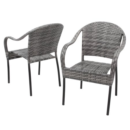 Dawn Grey Outdoor Stackable Wicker Chair (Set of 2) ()