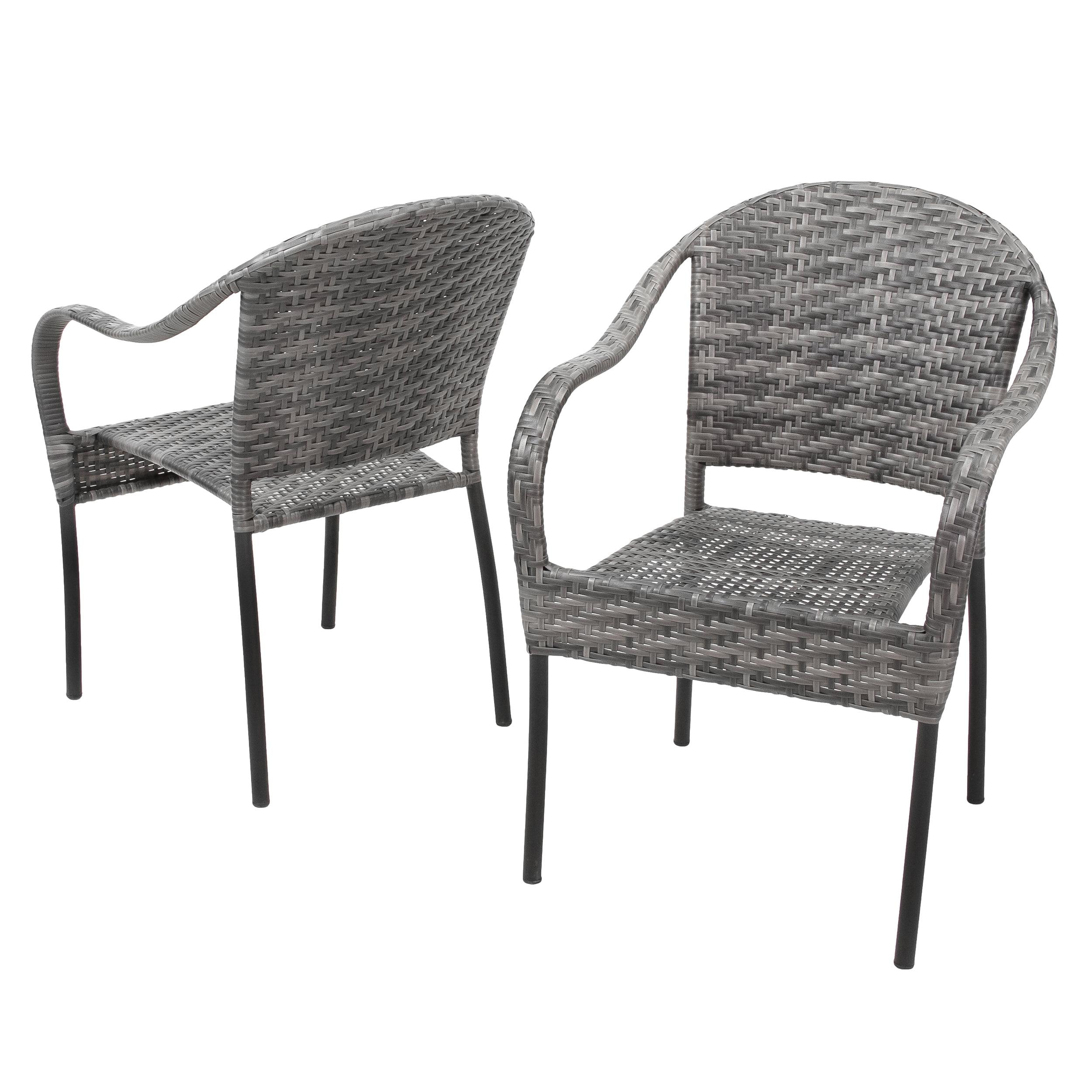 Dawn Grey Outdoor Stackable Wicker Chair (Set of 2)