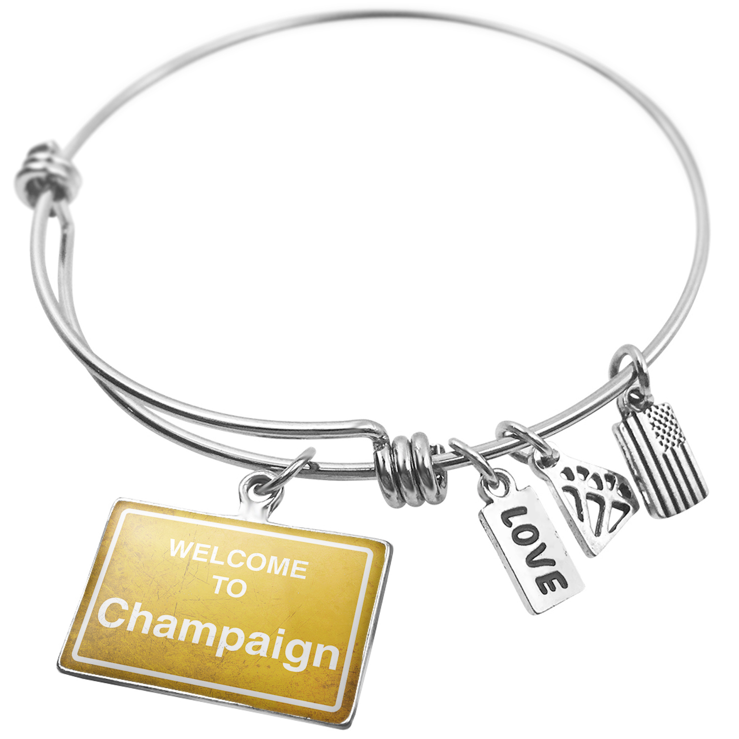 Expandable Wire Bangle Bracelet Yellow Road Sign Welcome To Champaign - NEONBLOND