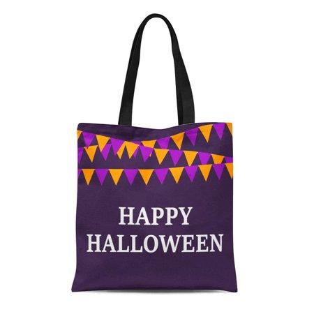 ASHLEIGH Canvas Tote Bag Pennant Flags Happy Halloween Bannerette Border Bringing Cartoon Celebrate Reusable Shoulder Grocery Shopping Bags Handbag](Bat Cartoon Halloween)