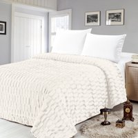 Box Pattern Faux Mink Bed Blanket by Sweet Home Collection