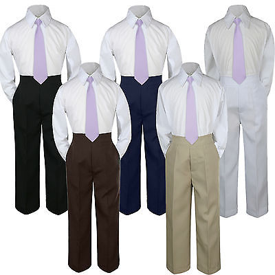 Leadertux 3pc Formal Baby Toddler Boys Satin Lilac Necktie White Pants Suits S-7 2T