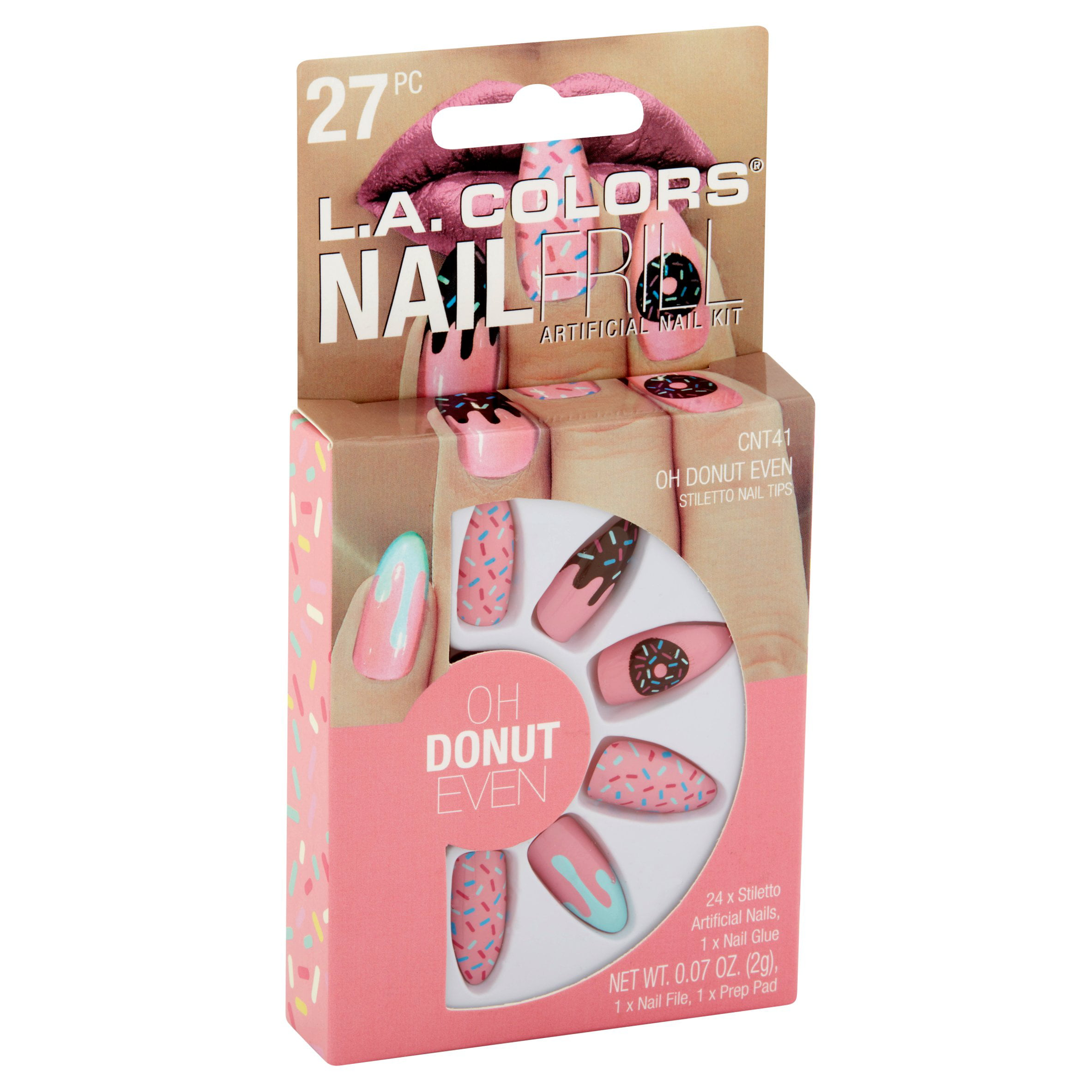 L A Colors Nail Frill Artificial Kit Oh Donut Even 27 Pc