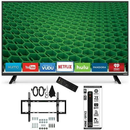 Vizio D50-D1 – D-Series 50-Inch Full Array LED Smart TV Flat + Tilt Wall Mount Bundle includes TV, Flat & Tilt Wall Mount Ultimate Kit and Power Strip with Dual USB Ports