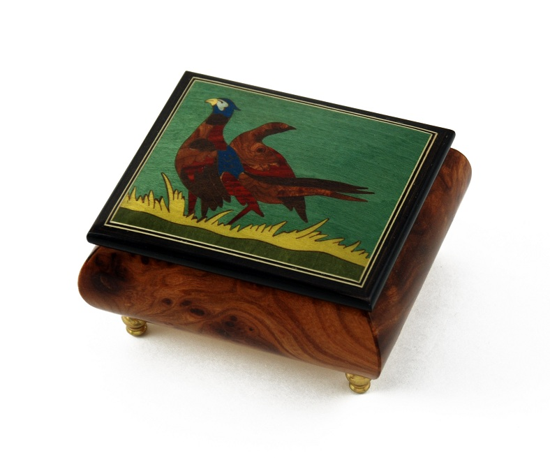 Handcrafted Birds Theme Italian Music Box with Pheasant Inlay by MusicBoxAttic