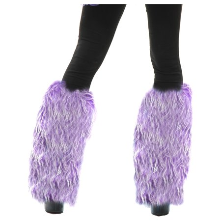Adults Womens Purple Green  Club Rave Furry Monster Leg Warmers