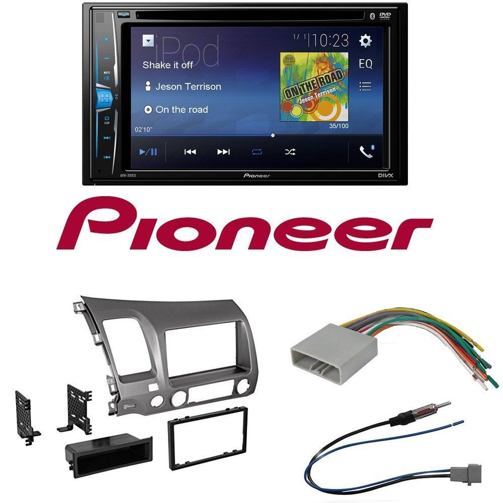 "Pioneer AVH-200EX 2-Din 6.2"" DVD/CD/iPhone/Android/Bluetooth Car Radio Stereo Single Double Din Taupe Dash Kit for 2006-2011 Honda Civic"