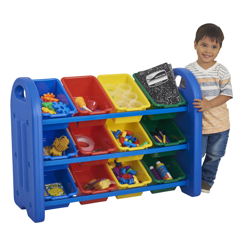 3-Tier Storage Organizer with Assorted Bins - Blue
