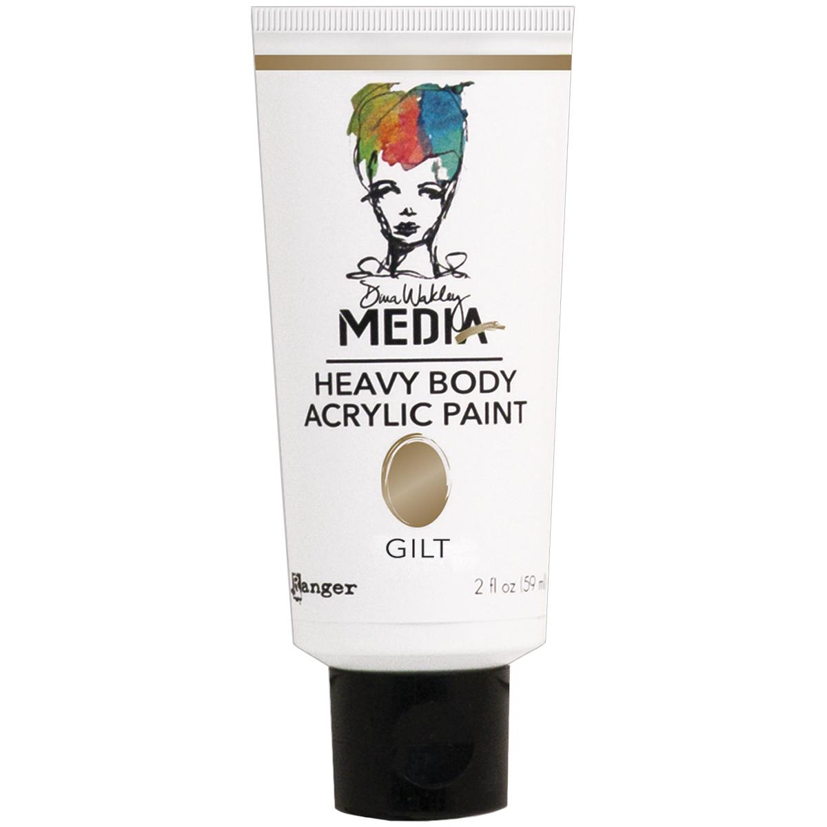 Dina Wakley Media Heavy Body Metallic Acrylic Paint 2oz-Gilt