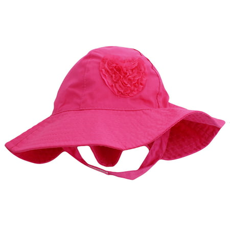 Little Me Sun Hat with Heart and Chin Strap For Toddler Girls Solid Pink 2T-4T (Hats Reef Women)
