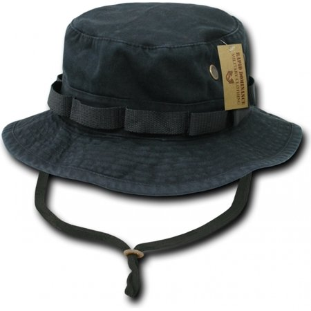 RapDom Vintage Washed Jungle Mens Boonie Hat [Black - S]