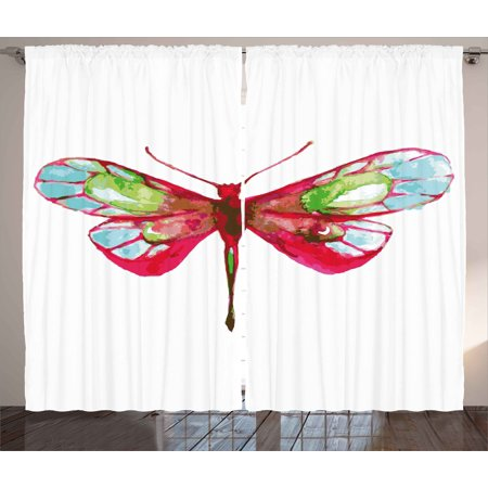 Dragonfly Curtains 2 Panels Set, Vivid Spring Time Inspired Moth Abstract Grunge Watercolor Design, Window Drapes for Living Room Bedroom, 108W X 90L Inches, Hot Pink Green and Blue, by