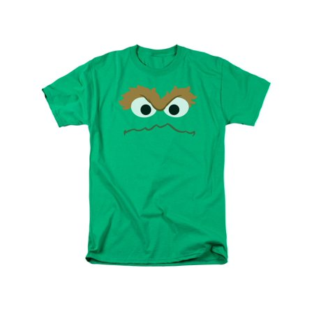 Sesame Street Classic Children's TV Show Oscar Face Outline Adult T-Shirt Tee - Sesame Street For Adults